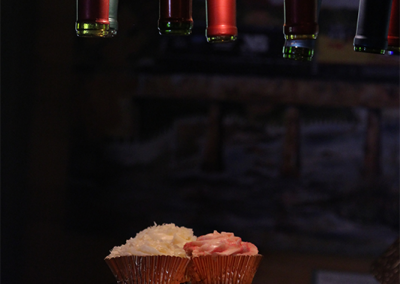 cupcake display with wine chandelier